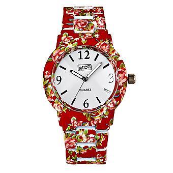Eton rojo Chintz Floral impresión pulsera reloj de moda 3174J-RD