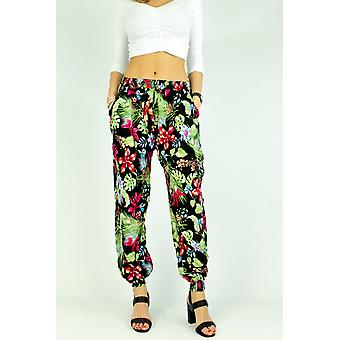 Women's floral print wide trousers