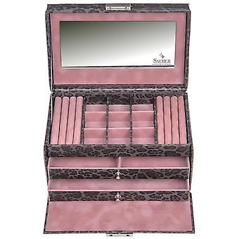 Sacher sieraden geval sieraden doos DIER grijs roze kasteel spiegel