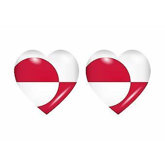 2x Stick klistermärke hjärtdekal KN Grönland