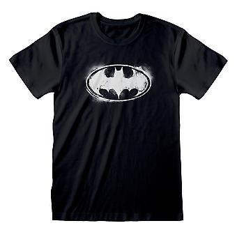 DC קומיקס באטמן מונו גברים לוגו מצוקה ' s חולצת טי | הסחורה הרשמית