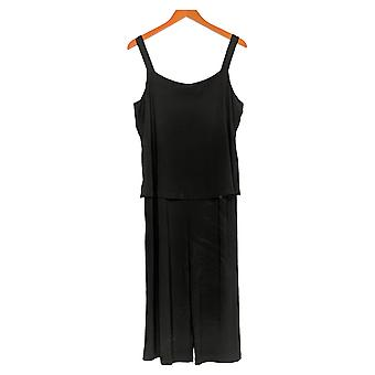 Women with Control Petite Jumpsuits Como Jersey Overlay Crop Black A306448