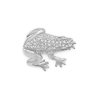 28mm X 30mm Silver Plated and Clear Crystal Frog Fashion Pin Jewelry Gifts for Women