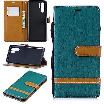 Huawei P30 Pro Édition Nouvelle enveloppe de téléphone cellulaire Poche de protection Case Poche poche poche étui Porte-monnaie vert