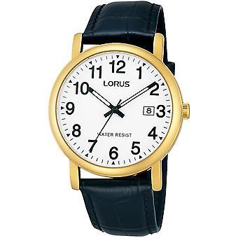 Lorus RG836CX-9 negro cuero oro tono caja reloj de pulsera