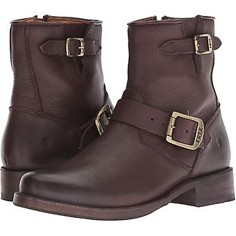 Frye Womens Vicky Leather Round Toe Ankle Combat Boots