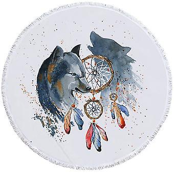 Toalha de praia da pintura do lobo do nativo americano