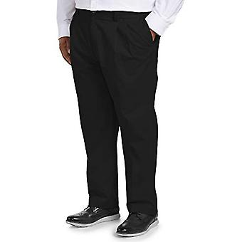 Essentials Men's Big & Tall Loose-fit Wrinkle-Resistant Pleated Chino Pant fit by DXL, Black 44W x 32L