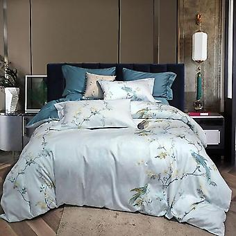 Silky Egyptian Cotton Chinoiserie Style Birds Flowers King And Queen Size