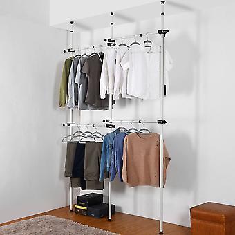 Double Telescopic Wardrobe Organiser Hanging Rail Clothes Rack Adjustable Storage Shelving
