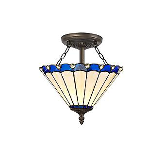 Luminosa Beleuchtung - 2 Licht Semi Flush Decke E27 mit 30cm Tiffany Schatten, blau, Kristall, Alter antik Messing