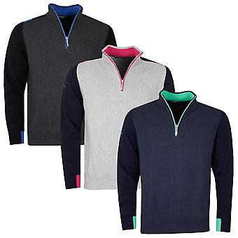 Glenmuir Mens Girvan Cashmere Cotton Breathable 1/4 Zip Golf Sweater