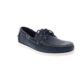 Sebago Portland Crazy Horse Mens Blue Leather Loafers & Slip Ons Boat Shoes