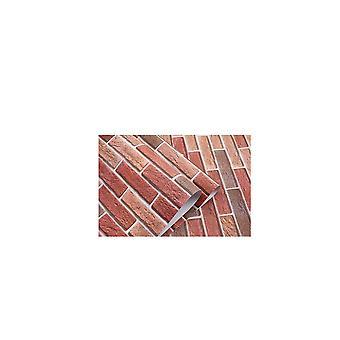9.84x1.96Inch Brique-Papier peint Self Adhésive Red