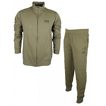EA7 by Emporio Armani Funnel Neck Zip Khaki Cotton Tracksuit