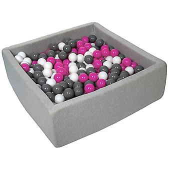 Poço de bola quadrada 90x90 cm com 450 bolas brancas, roxas e cinza