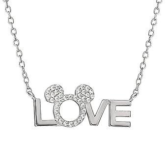 Minnie Mouse Silver Plated Brass Stone Love Pendant Necklace