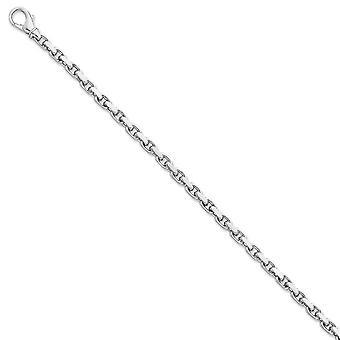 14kホワイトゴールド4.5mmハンドポリッシュリンクチェーンブレスレットジュエリー女性のためのギフト - 長さ:7〜9