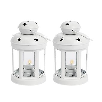Nicola Spring Candle Lanterns Tealight Holders Metal Hanging Indoor Outdoor - 16cm - White - Set 2