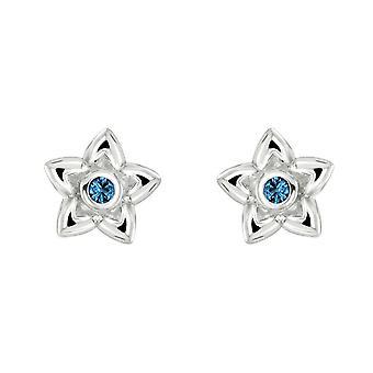 Dew Silver Dinky Love Petal Flower Blue Cubic Zirconia Studs 3058BCZ028