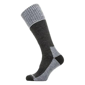 Sealskinz Solo QuickDry Knee Length Socks - Black / Grey