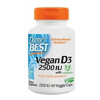 Doctors Best Vegan D3, 2500 IU, 60 Veggie Caps