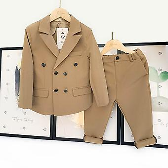 Spring & Autumn Double Breasted Suit Set, Fashion Blazer / Pants