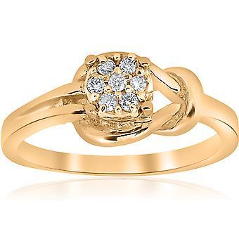 """טבעת קשר יהלום זהב צהוב 14 ק""""מ"""