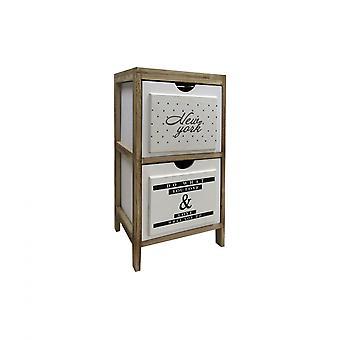Rebecca Furniture Bedside Table Mobile Bathroom 2 Drawers Modern White Wood 61x30x24