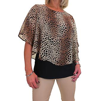 Women's 2 in 1 Chiffon Overlay Cape Style Blouse Animal Leopard Print Top Brown Beige 10-22