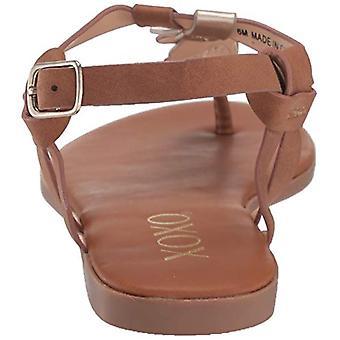 XOXO Women's Fresno Sandal, tan/Light Gold, 7.5 M US