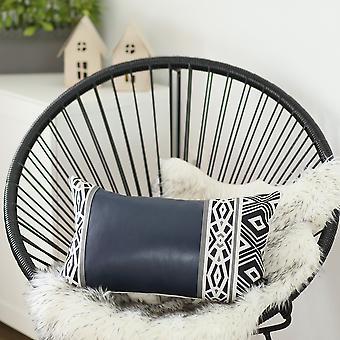 Decorative Leather Lumbar Pillow Cover