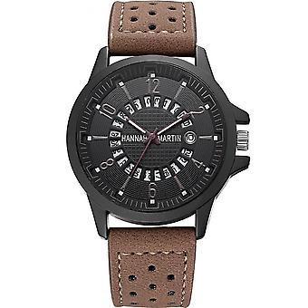 HANNAH MARTIN 1601 Homme Montre-bracelet Véritable Bracelet En cuir Montre créative
