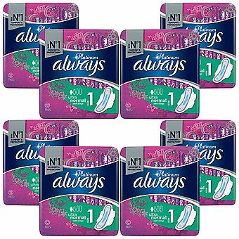 Toujours Platinum Sanitary Pads, 8 Pack d'Ultra Normal, 12 Pads