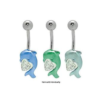 Belly button ring titanium dolphin with heart