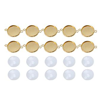 10x Golden Patch Paramètres DIY Craft Collier Round Blank Pendentif Base