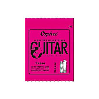 Orphee Acoustic Guitar Strings Tx Series, Folk Hexagonal Carbon Steel, Metal