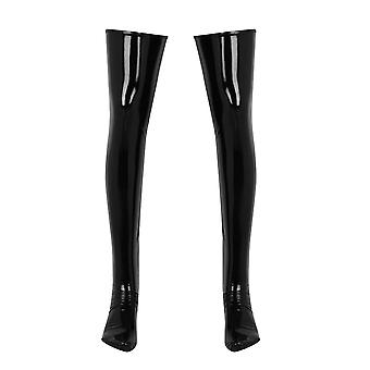 Anti-skid Soft Wetlook Pvc Leather Thigh High Footed Mens Latex Long Sock