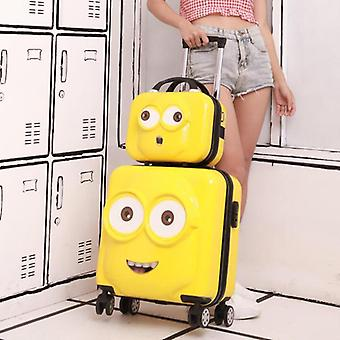 Kids Minion Travel Suitcase Spinner Cabin Rolling Luggage Set
