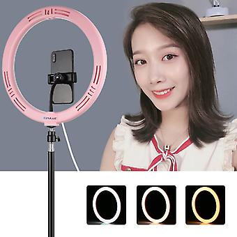 PULUZ 11.8 inch 30cm USB 3 Modes Dimmable Dual Color Temperature LED Curved Diffuse Light Ring Vlogging Selfie Photography Video Lights with Phone Cla