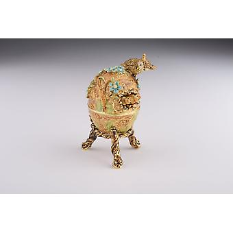Brown Faberge Egg With Owls Nest Trinket Box