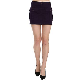 Purple High Waist Button Pocket A-line Mini Skirt