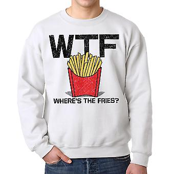 Humor Fries Men's White Sweatshirt