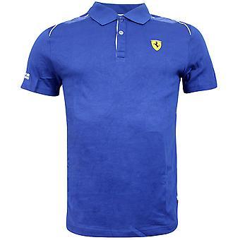 Puma Ferrari Shield Logo Niebieski Krótki rękaw Męskie Polo Shirt 761547 05 UA100