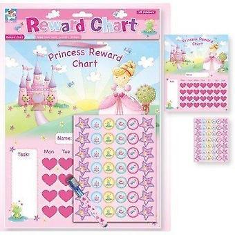 Noua diagramă de recompensă pentru copii prințesă cu ștergeți bord curat, stilou și autocolante. Distractiv!