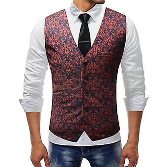 Dress Vests, Slim Fit, Casual Graffiti Printed Sleeveless Jacket, Coat, Mens