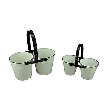 Rustic Black and White Metal Double Planters Set of 2