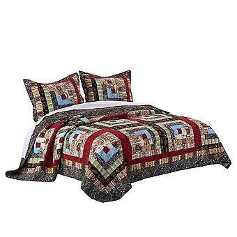 Thames 3 Piece King Size Cotton Quilt Set With Log Cabin Pattern, multicolore