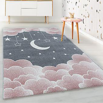 ShortFlor alfombra infantil rosa estrellado cielo luna nubes diseño vivero suave
