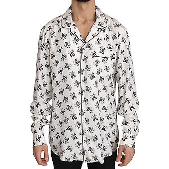 Vit SIDEN Pyjamas Floral Print Sleepwear Skjorta